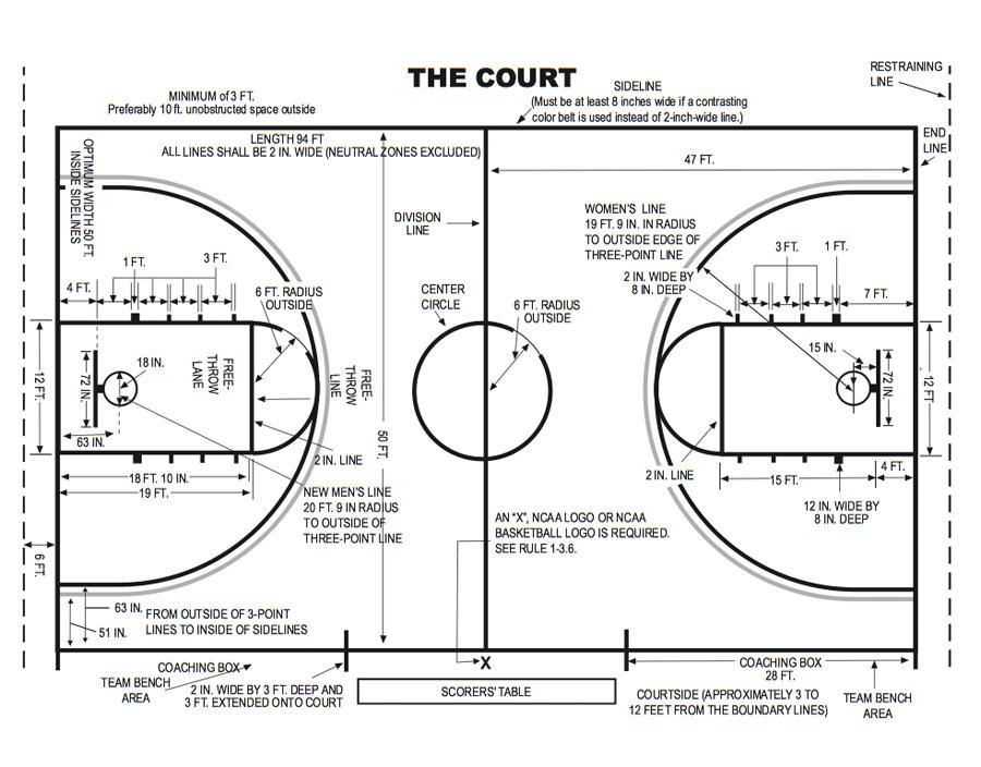大学篮球场图