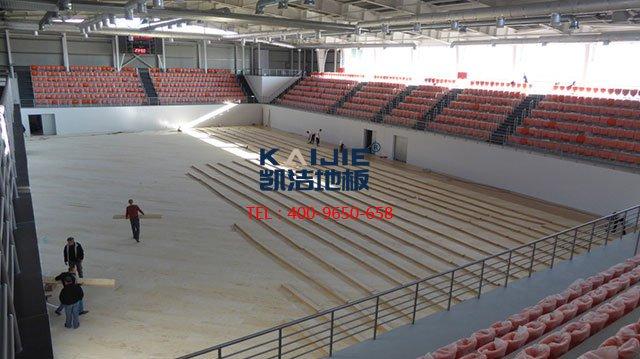 室内体育馆专用体育木地板施工——凯洁体育木地板