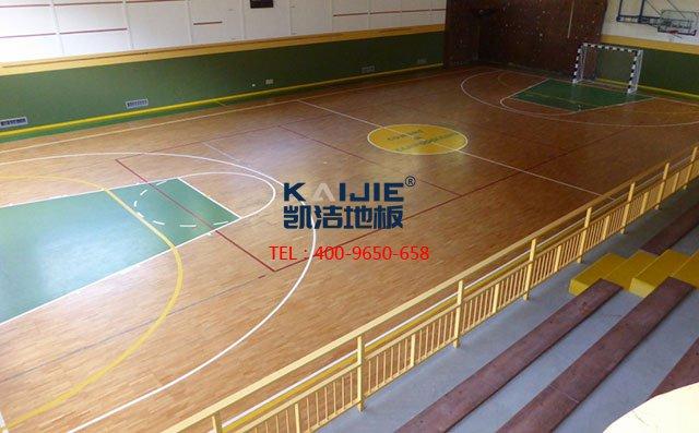 专业厂家体育木地板的上层面板安装过程——凯洁地板