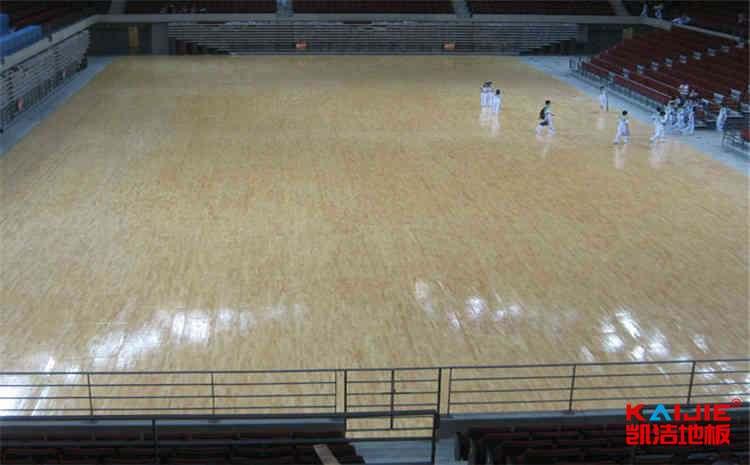 石家庄硬木企口体育地板安装