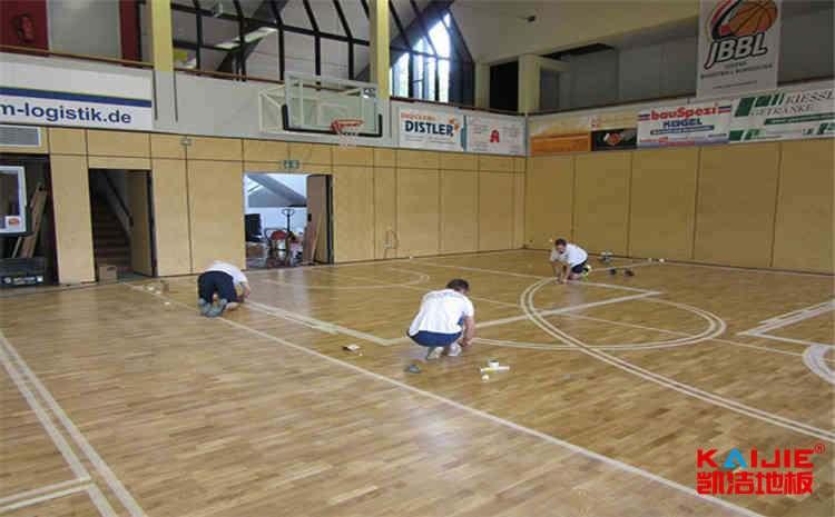 壁球馆木地板在篮球场可以用吗——凯洁地板